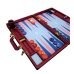 """GAMBLICON Luxury Backgammon Board Set """"Master"""" Mod. - (23"""", Purple Heart Wood or Amaranth, Field Blue/Purple/Navy, Perforated Embossed Navy Cover)"""